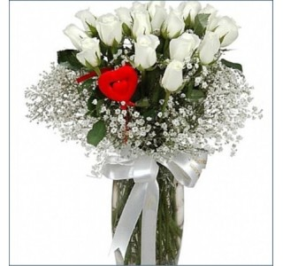 19 Adet Beyaz Güller